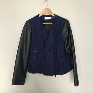 Calvin Klein Mixed Tweed Faux Leather Moto Jacket
